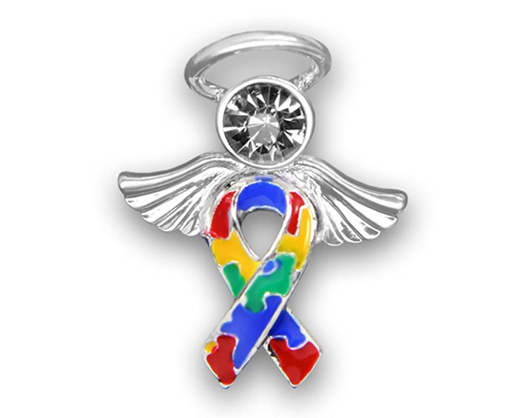 25 Pack Angel Autism Ribbon Pins - with 1 Clear Crystal (Wholesale Pack - 25 Pins)