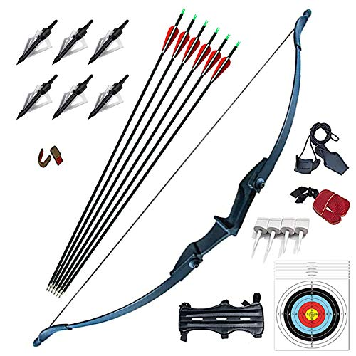 Vogbel Archery Takedown Recurve Bow and Arrow Set 30lb 40lb Left/Rght Hand Longbow Kit for Beginner Outdoor Hunting Shooting Training Practice(Black,40lb)