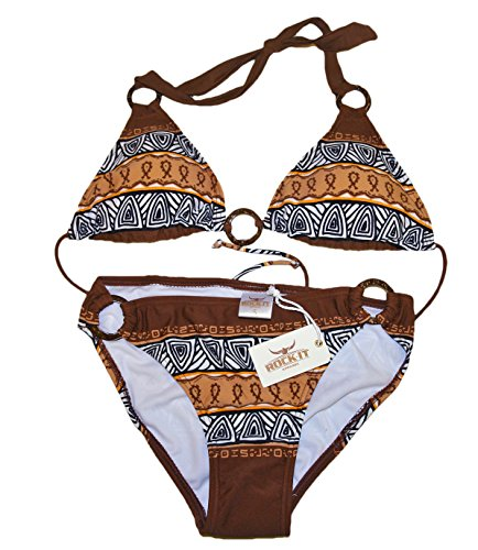 ROCK-IT Apparel® Triangel Bikini Aztec - Damen Push up Zweiteiler Bikini Set mit Bikinioberteil und Bikinihose - Original von Rock-IT - Farbe Braun - X-Large