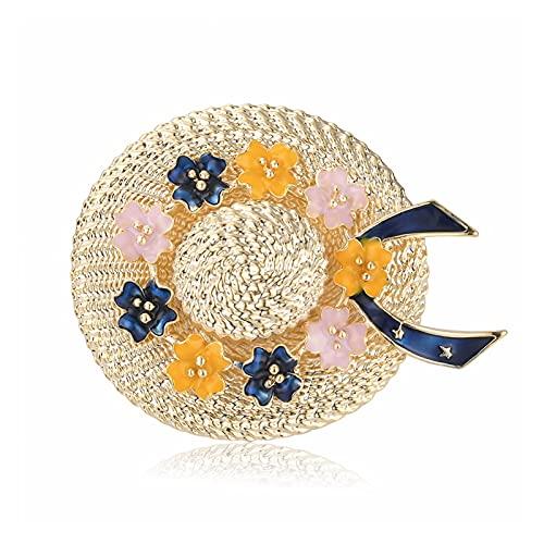 JSJJATQ Sombreros Sombrero de Moda Coreano Broche Flor Creativo Arco broches para Mujeres Esmalte Broche Pins Accesorios de joyería Sombreros para Mujer (Metal Color : Blue 4.8x3.7 cm)