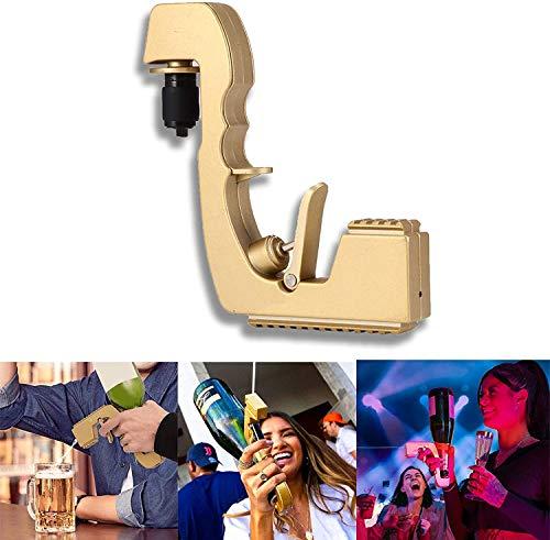 Bubbly Blaster Champagne Pistole, Champagner Bubbly Blaster, Weinstopper Champagner Weinspender Brunnenflasche Bierauswerfer Fütterung Flirtpistole für Hochzeitsfeier Night Club Bar Tool (Gold)