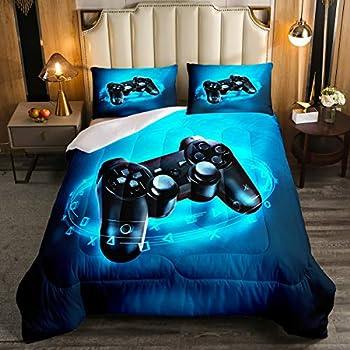 Gaming Comforter for Boys Kids Gamer Comforter Set Full Size Game Home Decor Soft Video Game Gamepad Bedding Set Modern All Season Teens Bedroom Down Duvet 1 Comforter with 2 Pillowcase Blue