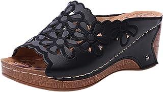 Yowablo Pantoufles Femmes Mode Casual Évider Talons Hauts Plateformes Épaisses Chaussures