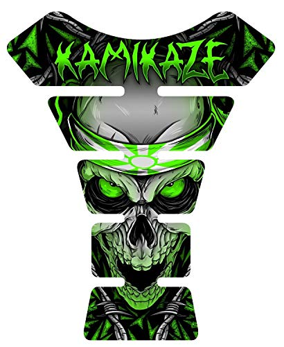 "8.6"" tall x 6.8"" wide Kamikaze Green Skull V2 3D Resin Gel Coating UV Resistant Motorcycle Gel Tank Pad tankpad Protector Decal"