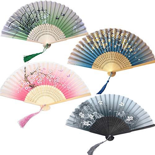 Tangger 4 Piezas Abanicos Plegables Abanico de Estilo Japonés de Papel y Bambú Paper Fan para Decoración Fiesta Baile Boda Casa Oficina DIY Regalo
