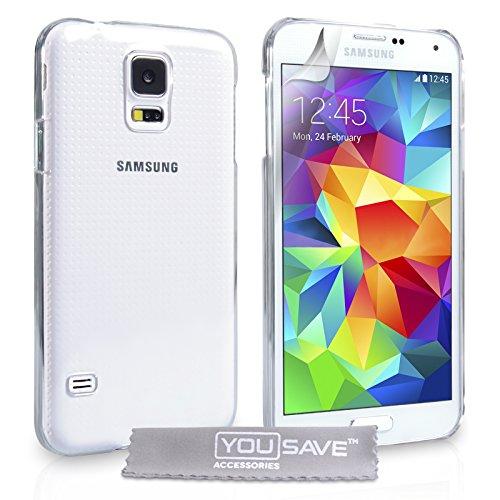 Yousave Accessories Custodia Cover per Samsung Galaxy S5, Duro Cristallo, Trasparente