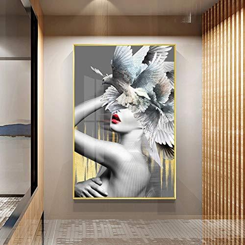 Impresión de Lienzo HD Mural Art Poster Feather Girl Posters e Impresiones Mujeres Pintura de Lienzo Arte de Pared Abstracto en Blanco y Negro para Sala de Estar Sin Marco