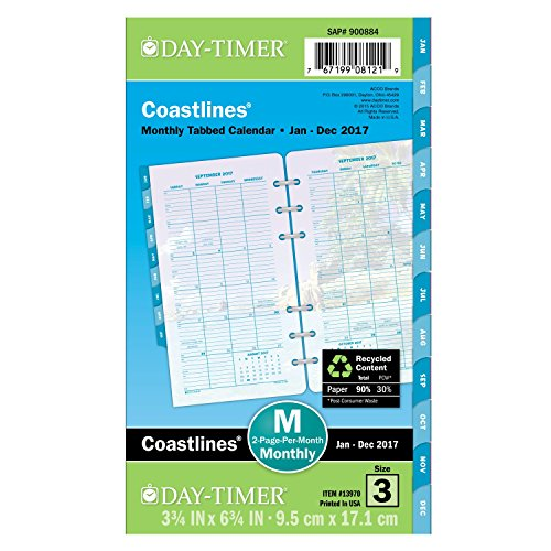 Day-Timer Monthly Planner Refill 2017, Two Page Per Month, Coastlines, Portable Size, 3-3/4 x 6.75' (13970)
