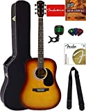 Fender Squier Dreadnought Acoustic Guitar - Sunburst Bundle with Hard Case, Tuner, Strap, Strings, Picks, and Austin Bazaar...