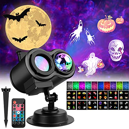 Samyoung Halloween Christmas Projector Lights Outdoor, 2-in-1 3D Ocean Wave & Patterns Outdoor Waterproof Projectors with Remote Timer Indoor for Holiday Party Garden Decorations 12 Slides 10 Colors