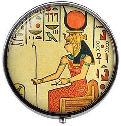 Pastillero de reina egipcia, joyero de arte egipcio, joyería antigua de Egipto, estilo vintage, joyería de fotos de cristal