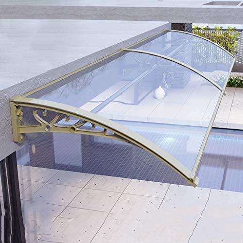 Outdoor Deur Luifel Dak Voorportiek, Tuin Luifel, Gouden Aluminium Bracket-3, Geschikt voor Huis Gevel (transparante Board, Blauwe Board)