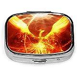 Magic Firebird, caja de pastillas cuadrada plateada de moda personalizada, soporte para tableta de medicina, estuche organizador de cartera para bolsillo o bolso