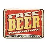 Alfombrillas Alfombras de baño Alfombrilla para Exteriores/Interiores Retro Cerveza Gratis Mañana Cartel de Chapa Vintage en Old Worn Red Pub Tavern Bar Divertido baño Decoración Alfombra Alfombra