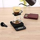 FEE-ZC Kitchen Home Multifunción Multifuncional Escala Digital de café Pantalla LCD Dígitos Escalas electrónicas de cocción de Alimentos para báscula Postal con Temporizador, Negro