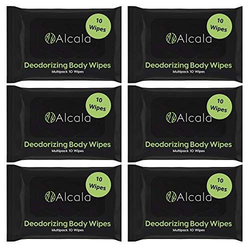 Alcala Deodorizing Body Wipes 100% Bamboo with Tea Tree, Multipack (60 Count)