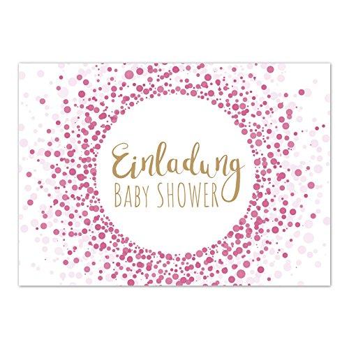 8 x Einladung Baby Shower Party/Einladungskarten mit Umschlag im Set/Motiv: Moderner Look, rosa Mädchen/Babyparty Karte/Postkarte /