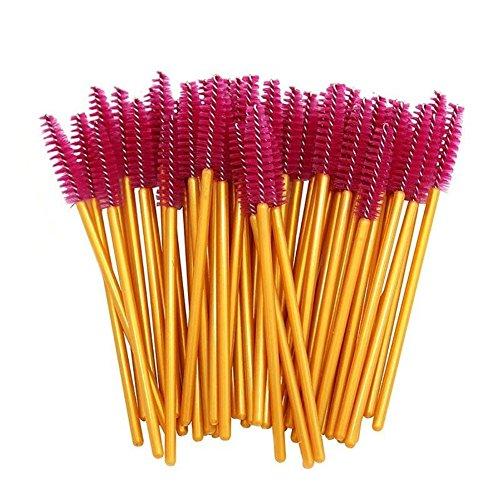 hwangli 50Pcs Disposable Mascara Wands Eyelash Brushes Makeup Tool Golden + Rose Red