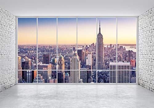 wandmotiv24 Fototapete New York NYC, S 200 x 140cm - 4 Teile, Fototapeten, Wandbild, Motivtapeten, Vlies-Tapeten, Ausblick, Fenster, Skyline M1133