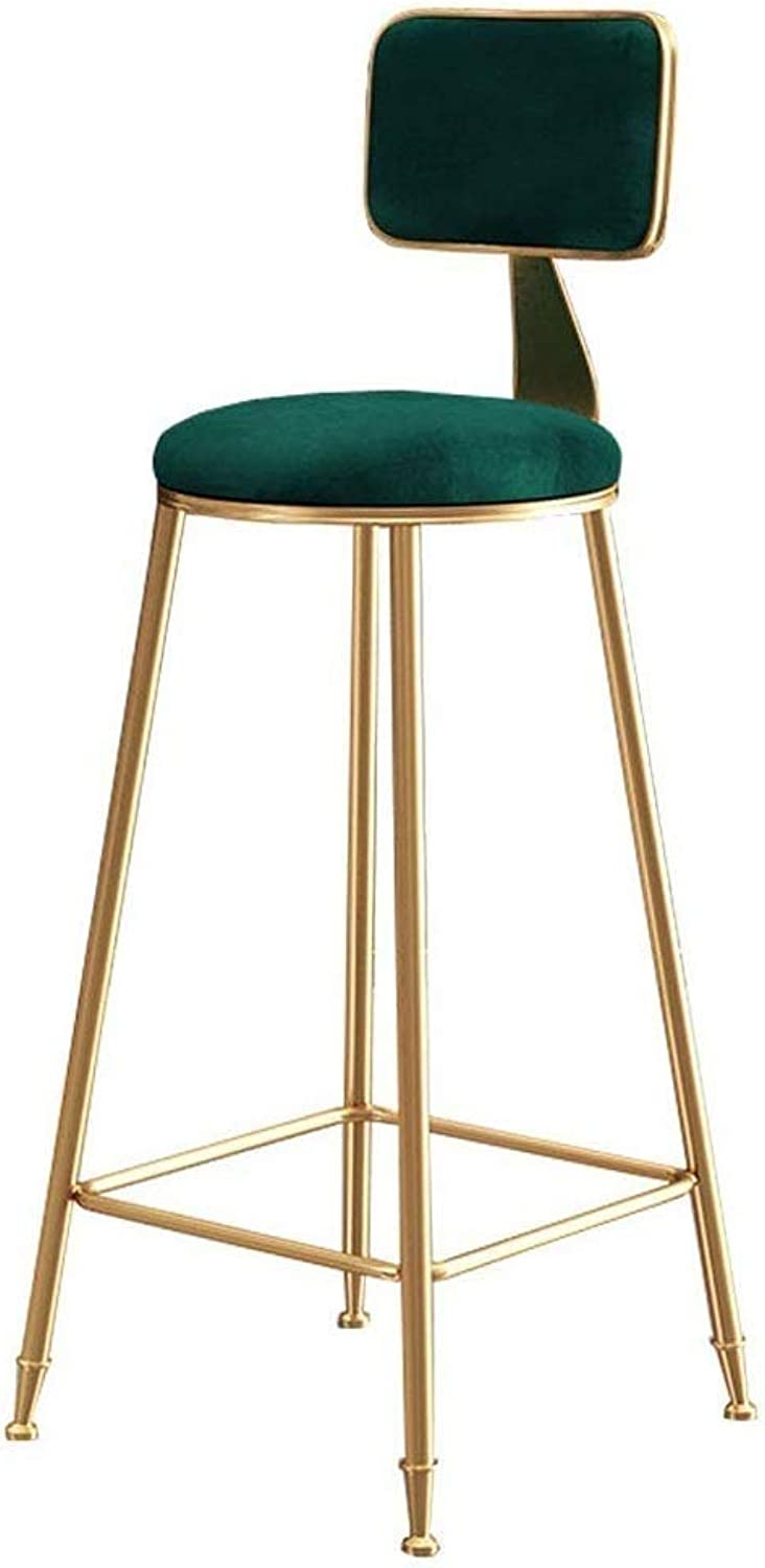 Home Furniture Barstools High Stools with Metal Legs Leisure Dining Chairs for Kitchen,Pub with Green Velvet Cushion-Max Load 200kg CONGMING (Size   Seat Height 65cm)
