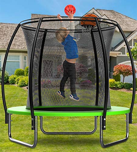 KOQIO 6FT-16FT Home Gym Trampoline with Basketball Hoop, Garden Bouncer with Safety Enclosure Net for Play And Exercise Jumping Trampoline for Kids And Adult,14FT
