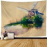 Tapiz de Pared Tapestry Holanda viento color Retro Sketch City Amsterdam Brush Farm Spring Mill House Design Color Wall Hanging 80X60inch