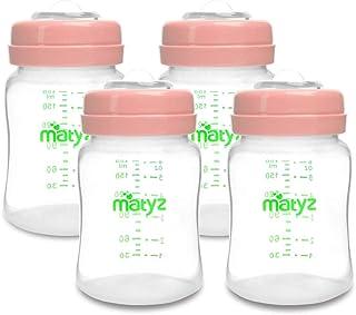 Matyz 4-Pack Breast Milk Collection and Storage Bottles (Pink, 6oz Each) - BPA Free Breastmilk Storage Bottles with Lids - Pumping Storage Bottles for Philips Avent Medela Spectra Breast Pumps