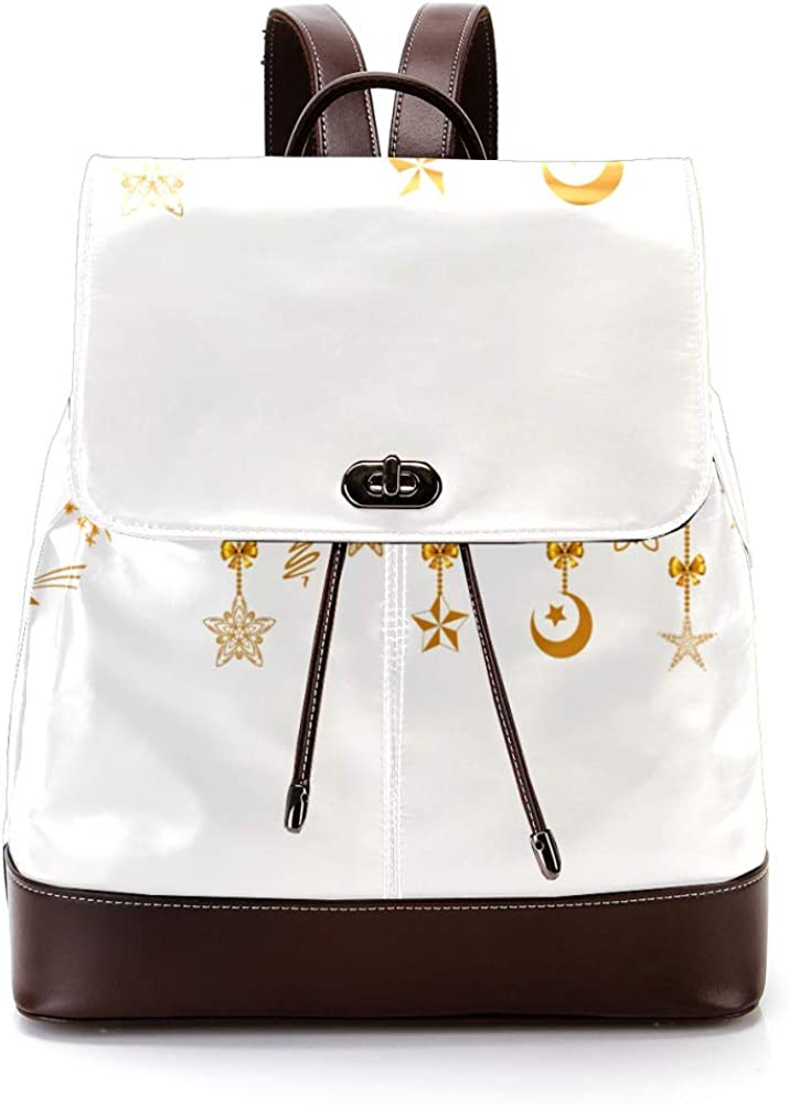 Christmas Stars PU Leather Backpack Fashion Shoulder Bag Rucksack Travel Bag for Women Girls