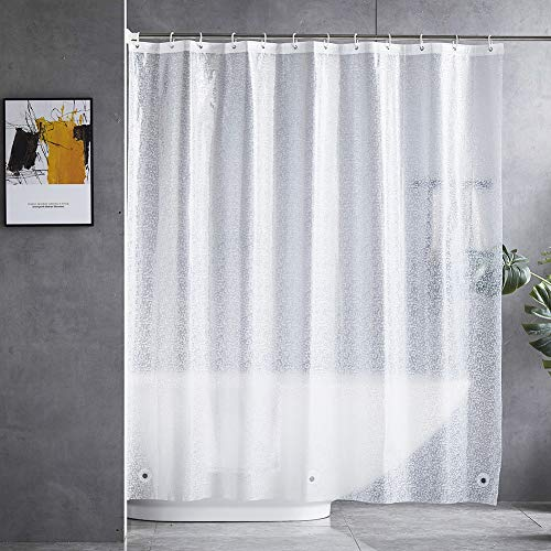 "BONA FIERER Shower Curtain or Liner with Hooks Magnets 70""x70"" PEVA Waterproof Eco-Friendly No Odors 3D Crack Heavy Duty Plastic Shower Curtains for Bathroom"