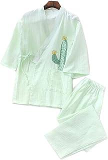 Las mujeres del estilo japonés adelgazan el pijama del algodón del albornoz Kimono Home Costume Suit, Y04