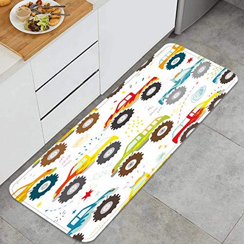 PUIO Mehrzweck-Küchenteppich-Sets,handgezeichnete Kinder kritzeln Monster Truck,wasserdichte Küchenboden-Komfortmatten, super saugfähig und rutschfest