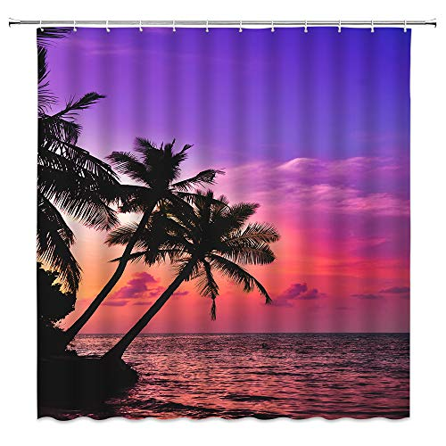 Xnichohe Hawaiian Decor Shower Curtain Sunset Palm Tree Purple Ocean Beach Island Seaside Landscape Sunset Sea View Fabric Bathroom Curtains,70x70 Inch Waterproof Polyester with Hooks Purple