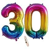 Globos Numeros 30 Años, xxxl 100cm Number Helio Inflados Globo Elio Número 30 Colores Arcoiris Oro para Hombre Mujer Chico, Globo Inflable Gigantes Grandes Decoración Fiesta de Aniversario Cumpleaños