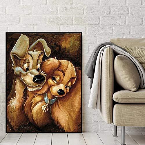 mlpnko DIY Malen nach Zahlen Cartoon Hund für Kinder & Erwachsene & Anfänger, DIY Ölgemälde Geschenk 40x50cm kein Rahmen