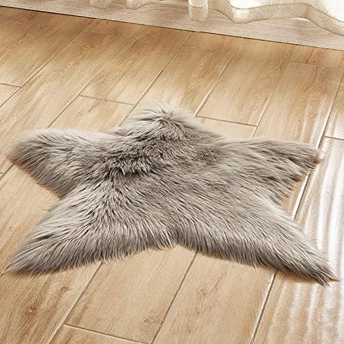 Margot74 Flächenteppich Seidig Anti-Rutsch-Sternform Flauschige Wohnkultur Babyzimmer Pentagramm Teppich Kinderzimmer Bodenmatte Für Schlafzimmer Langer Plüsch Superweich