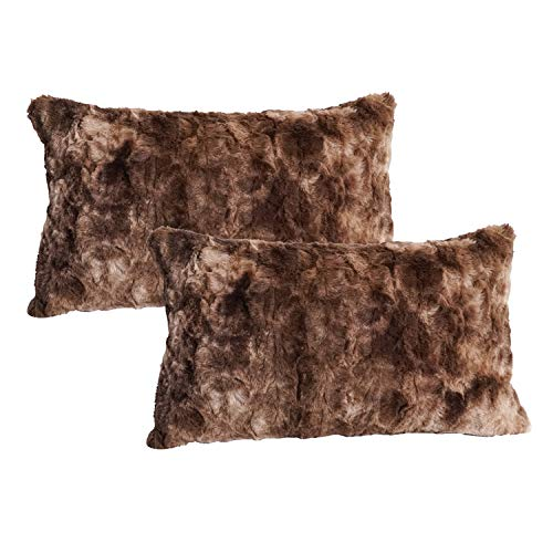 Funda de Almohada de Lujo de Piel sintética, cojín Decorativo de Felpa Minky Vellón, Funda de Almohada de Felpa esponjosa súper Suave Cremallera Impermeable, 30cm×50cm, marrón, Paquete de 2