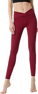 Beauty_yoyo Women's Cross Waist Yoga Leggings Sports Gym Pants Tummy Control Outfits Workout Fitness Non See-Through Wear