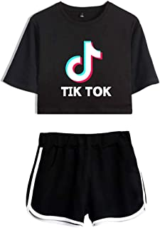 Women's TIK TOK Top T-Shirt with Shorts 2Pcs Set of Tracksuit Sportwear Suit for Girls Ladies (Black with Black, Medium)