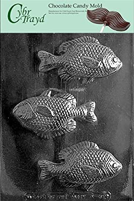Cybrtrayd N051 Large Fish Mold Chocolate Candy Mold with Exclusive Cybrtrayd Copyrighted Chocolate Molding Instructions
