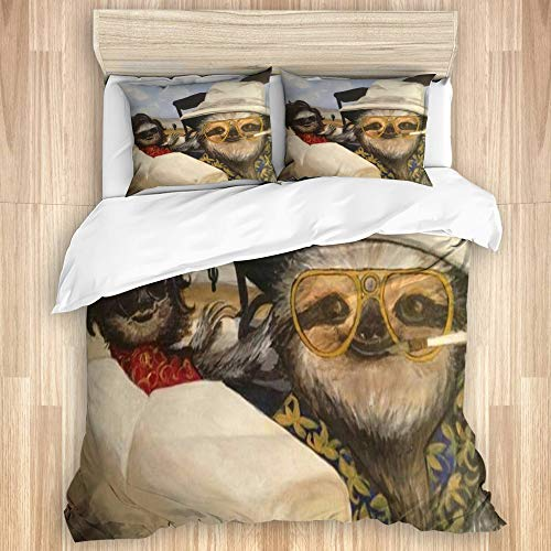 VAMIX Duvet Cover Set,Fear and Loathing in Sloth Vegas,Quilt Cover with Zipper Closure Soft Microfiber Bedding Set Double Size 200x200cm