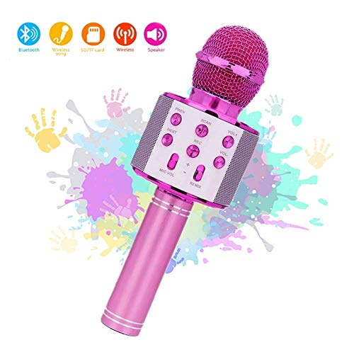 Micrófono Inalámbrico Karaoke Bluetooth,Micrófono Karaoke Portátil para KTV,Cantar,Grabación,Karaoke Player Micrófono con 2 Altavoces Incorporados, Compatible con PC/iPad/iPhone-Rosado