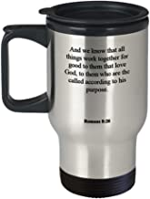 Romans 8 28 Travel Mug/Thermos Cup - Inspirational Bible Verse/Psalm Gift: