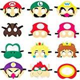 12Pcs Mario Felt Masks Themed Party Supplies Birthday Wario Party Favors Dress Up Costumes Mask Photo Booth Prop Cartoon Character Cosplay Pretend Play Accessories Gift for Kids Boys Girls
