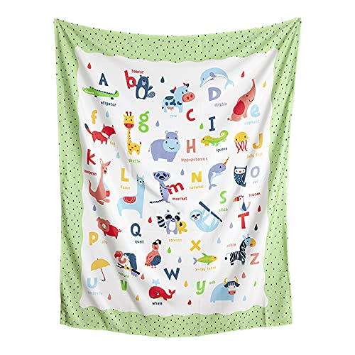Kids ABC with Animals | Wall Hanging Tapestry Decor for Child or Baby Bedroom | 40x50 inches | Worthwild Tapestries