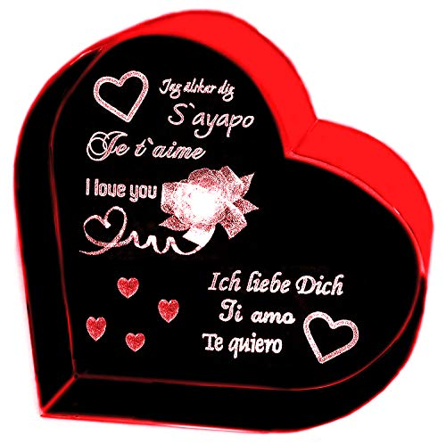 Kaltner Präsente Herz aus Glas: Kristallglas mit 3D-Laser-Gravur ICH LIEBE DICH/JE T`AIME/I LOVE YOU