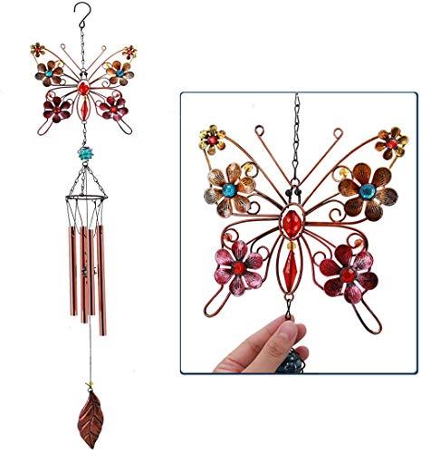 Campanas de Viento de Mariposa FLCSIed para jardín, pequeñas campanillas de Viento únicas al Aire Libre con Mariposa de Hierro Forjado de Metal para el hogar