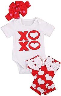 style_dress Baby Kleidung, 3 STÜCK Neugeborenen Baby Mädchen Jungen Herz Strampler Overall BeinlingeStirnband Kleidung Outfits Unisex Jumpsuit Spielanzug Set