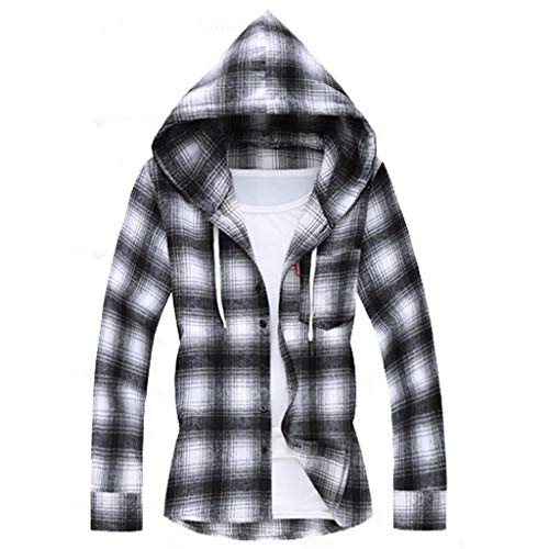 Herren Langarmshirt Lässige Mode Plaiddruck lose Hoodie Langarm Shirt Top Bedrucktes Hemd im lässigen Stil M-7XL