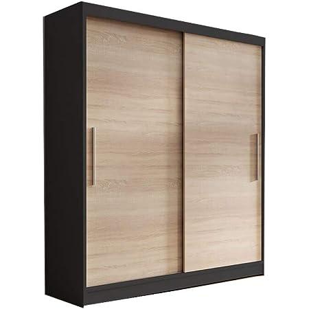 E-MEUBLES Armoire de Chambre avec 2 Portes coulissantes | Penderie (Tringle) avec étagères (LxHxP): 150x200x61 LARA 04 (Noir+Sonoma)