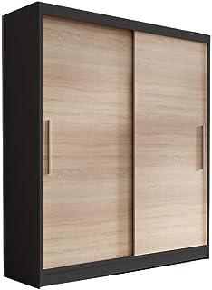E-MEUBLES Armoire de Chambre avec 2 Portes coulissantes | Penderie (Tringle) avec étagères (LxHxP): 150x200x61 LARA 04 (No...